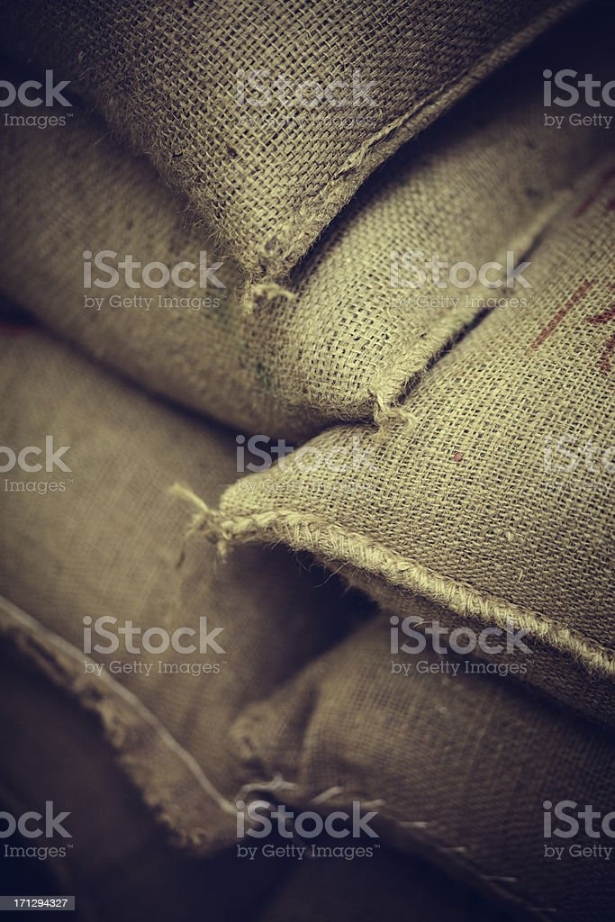 Bags of Stacked Green Coffee Beans royalty-free stock photo