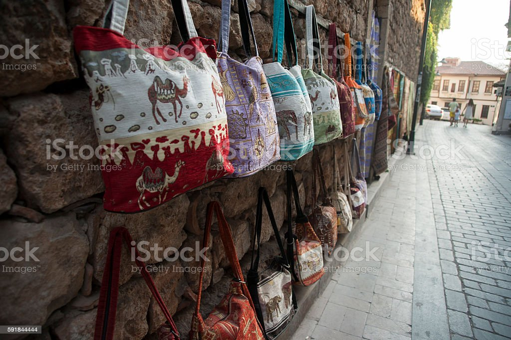 Bags on the stone streets of Antalya stock photo