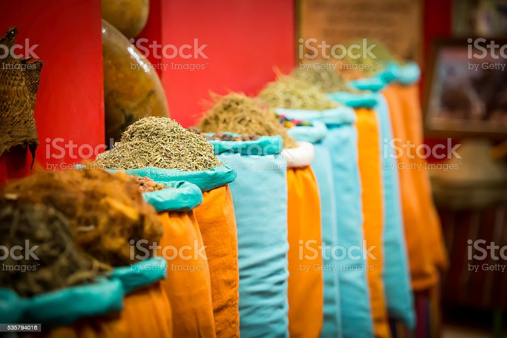 bags with herbs and spices stock photo