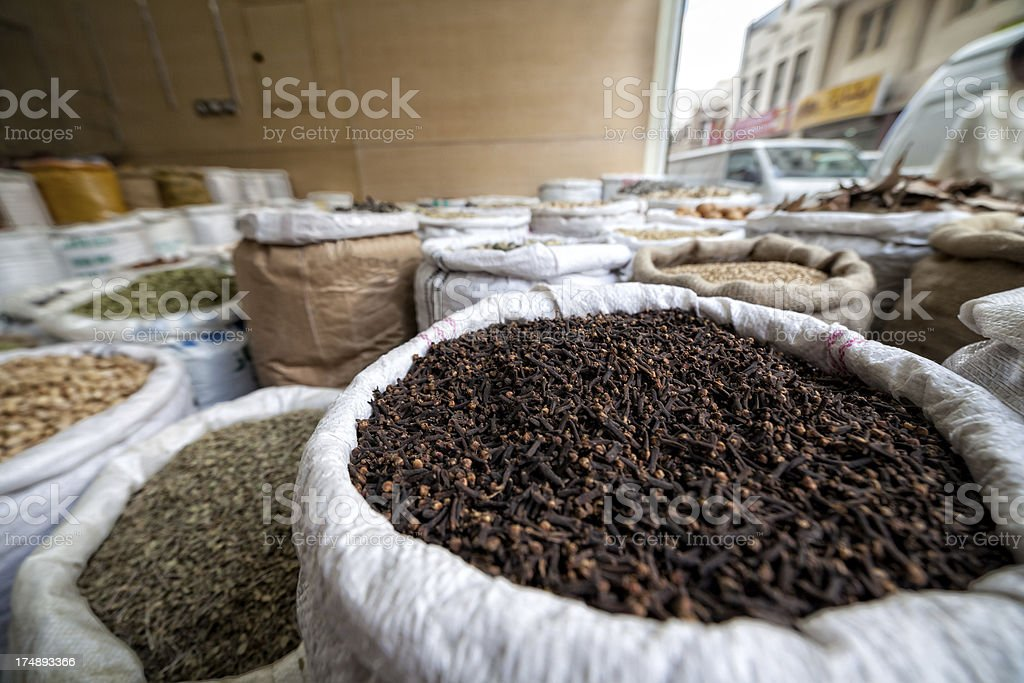 Bags with spices in the old Dubai Deira area. royalty-free stock photo