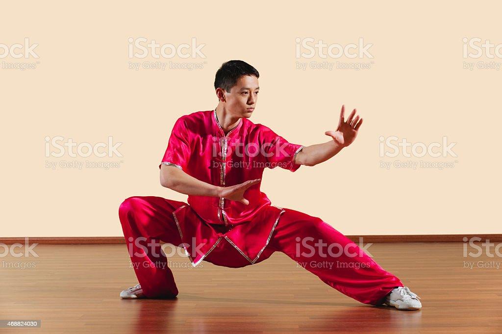 Baguazhang Ban mabu tuizhang young man practicing martial arts stock photo