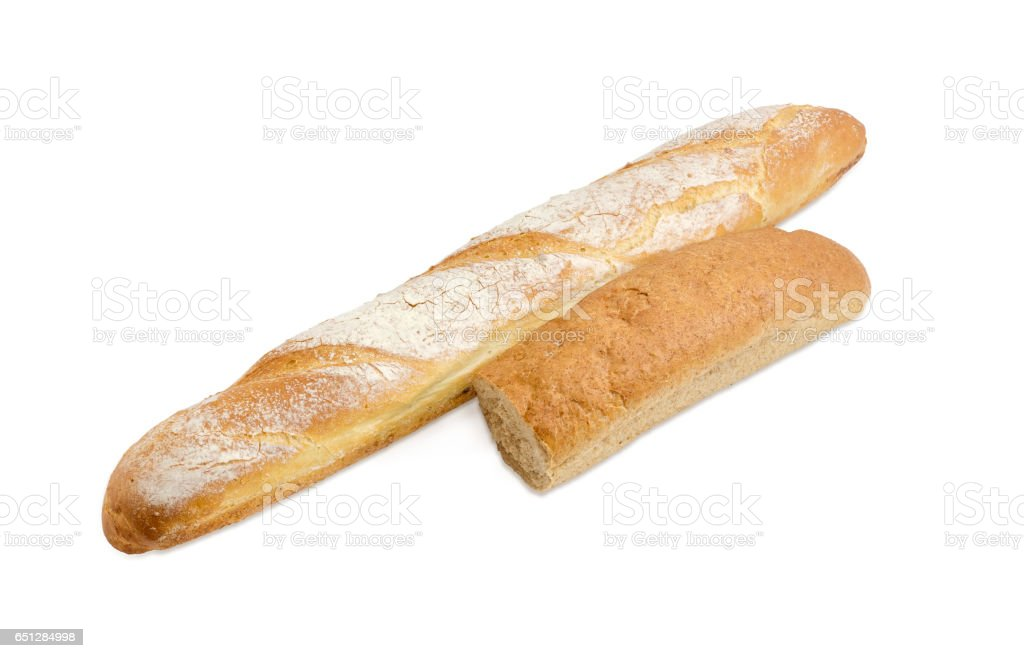 Baguette and half of long bread with bran stock photo