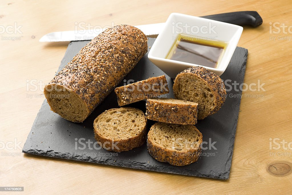 Baguette and Olive Oil royalty-free stock photo