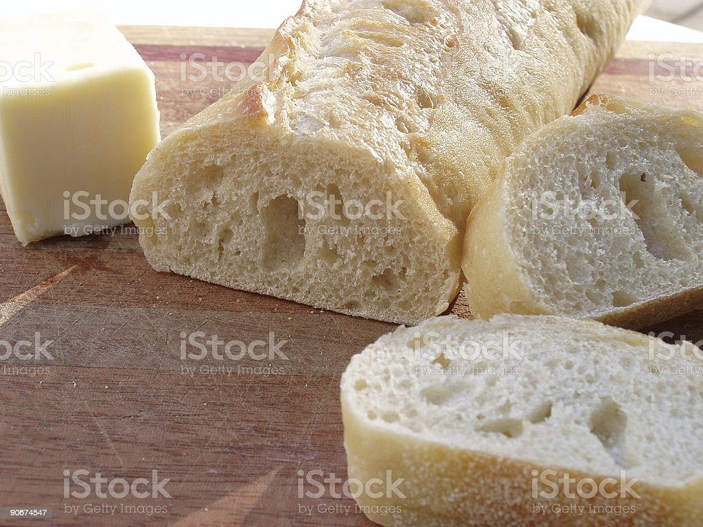 Baguette bread and Butter - Italian  Food royalty-free stock photo