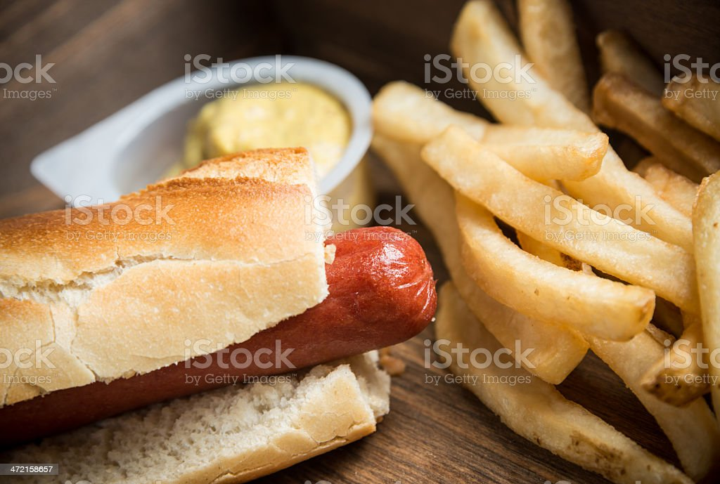 Baguette Hotdog stock photo