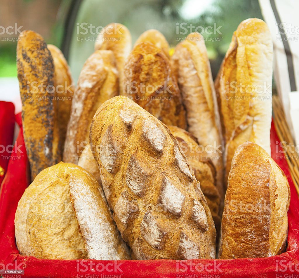 Baguette in the basket, French bread royalty-free stock photo
