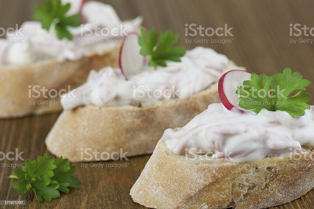 baguette mit wurstsalat stock photo