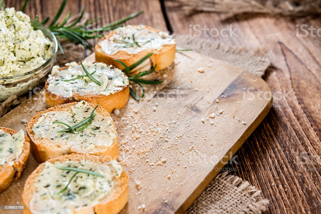 Baguette (with Herb Butter and Garlic) stock photo