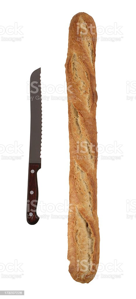 Baguette with Bread Knife royalty-free stock photo