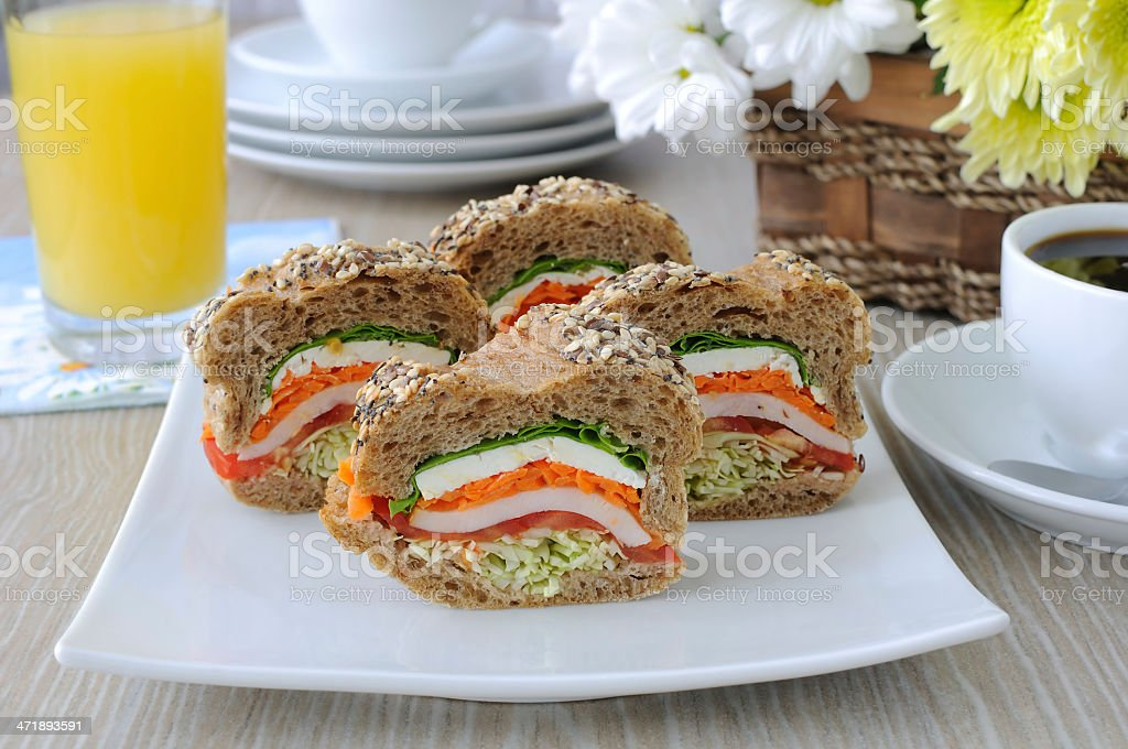 Baguette with chicken and vegetables royalty-free stock photo