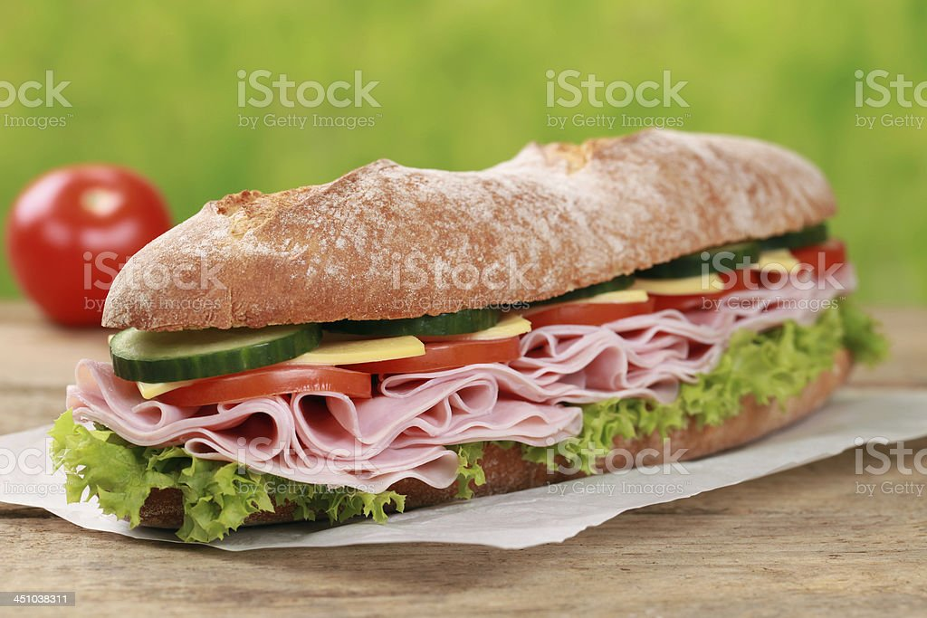 Baguette with ham stock photo