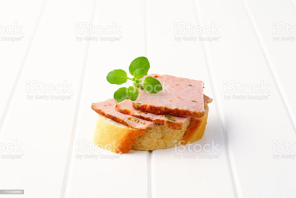 baguette with pate stock photo