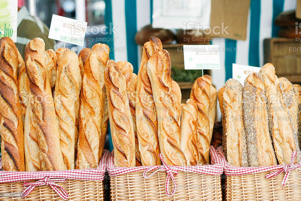 baguettes at the market stock photo