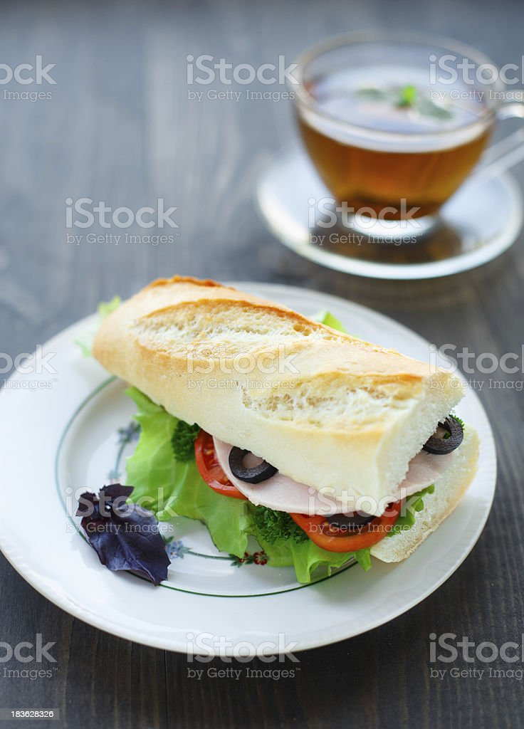 Baguettes filled with ham and vegetables royalty-free stock photo