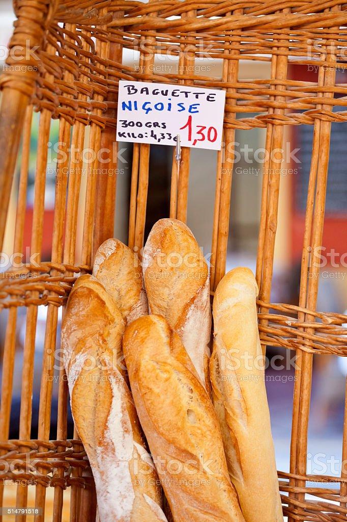 Baguettes Nicoise at Nice Market stock photo