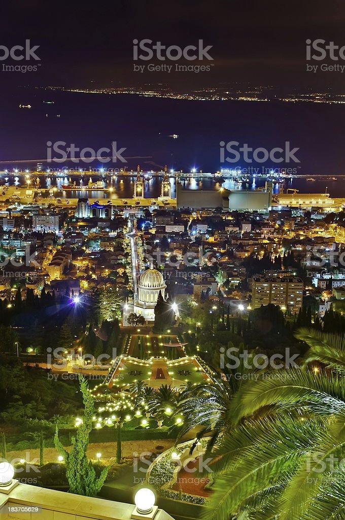 Bahai Gardens at night royalty-free stock photo