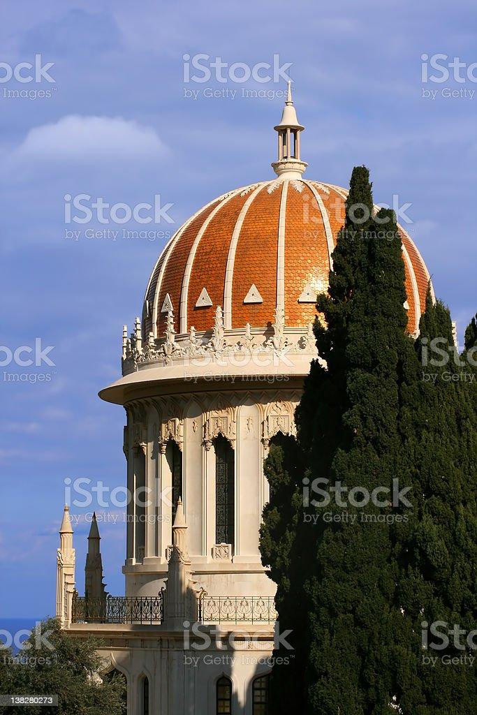 Bahai Gardens Golden dome stock photo