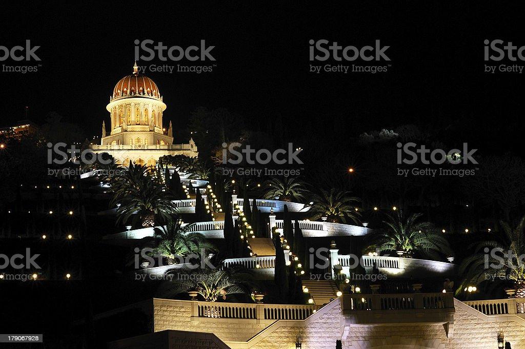 Bahai gardens in Haifa at night royalty-free stock photo