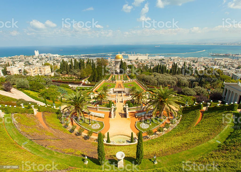 Bahai Gardens Stairs and temple stock photo