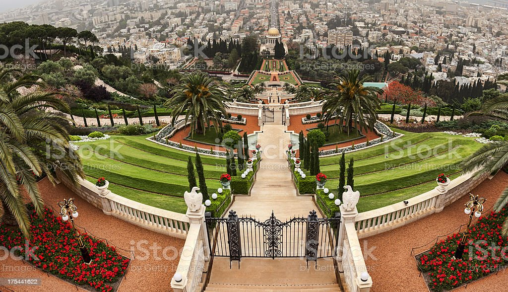 Bahai Shrine and Gardens Haifa Israel stock photo