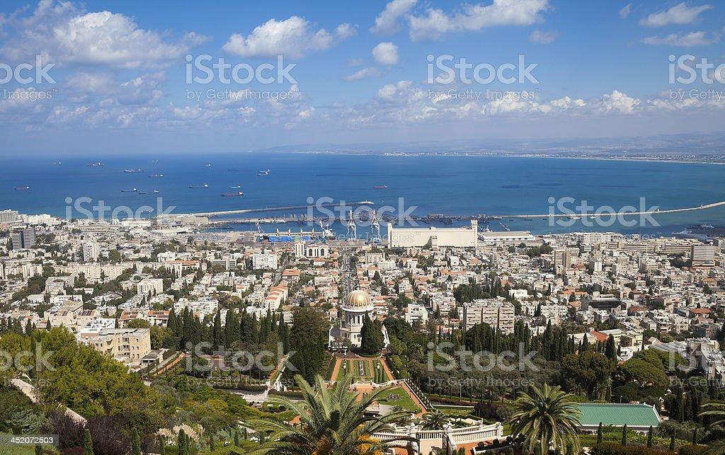 Bahai Temple and view of Haifa stock photo