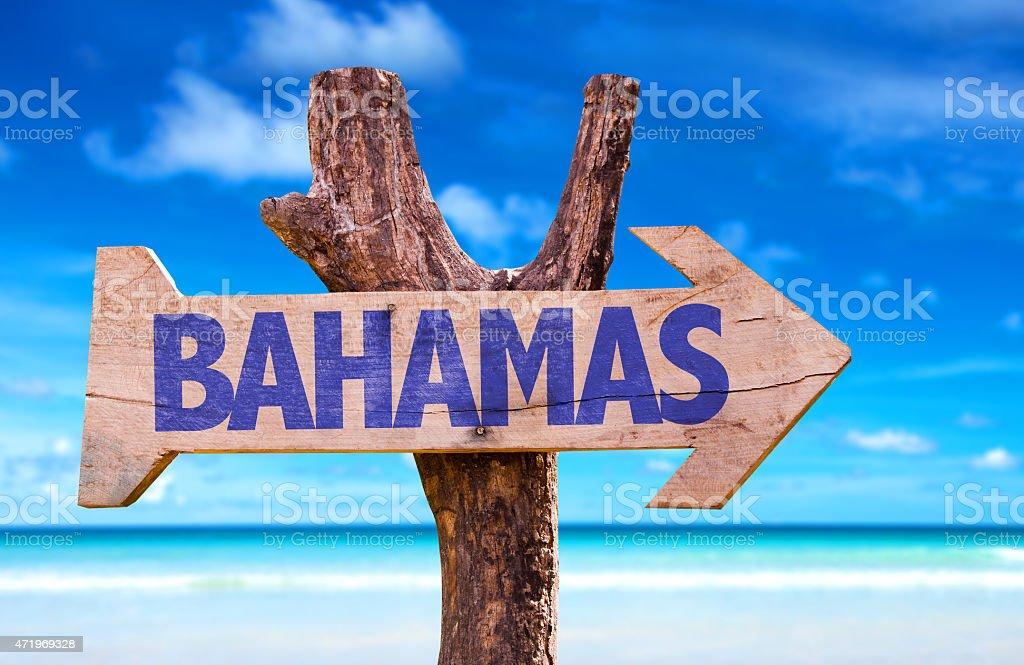 Bahamas sign with beach background stock photo