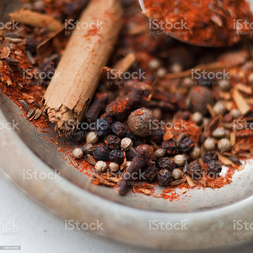Baharat - spice mixture stock photo
