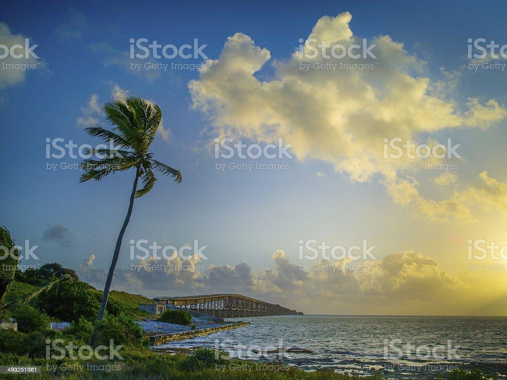 Bahia Honda Bridge Sunrise, Spanish Harbor Key stock photo