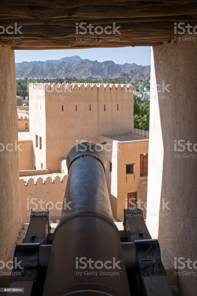 Bahla Fort canon, Oman stock photo