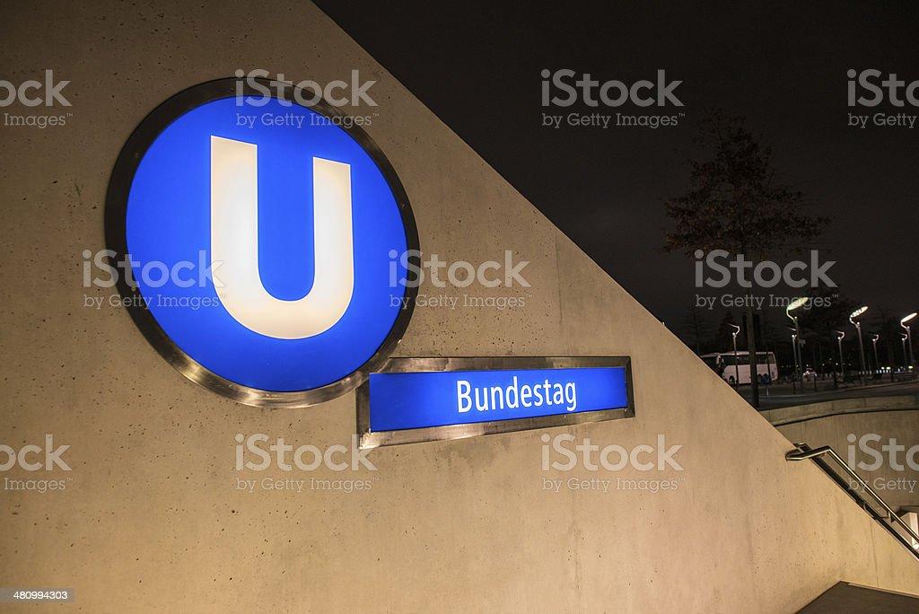 U Bahn Bundestag sign - Underground entrance in Berlin stock photo