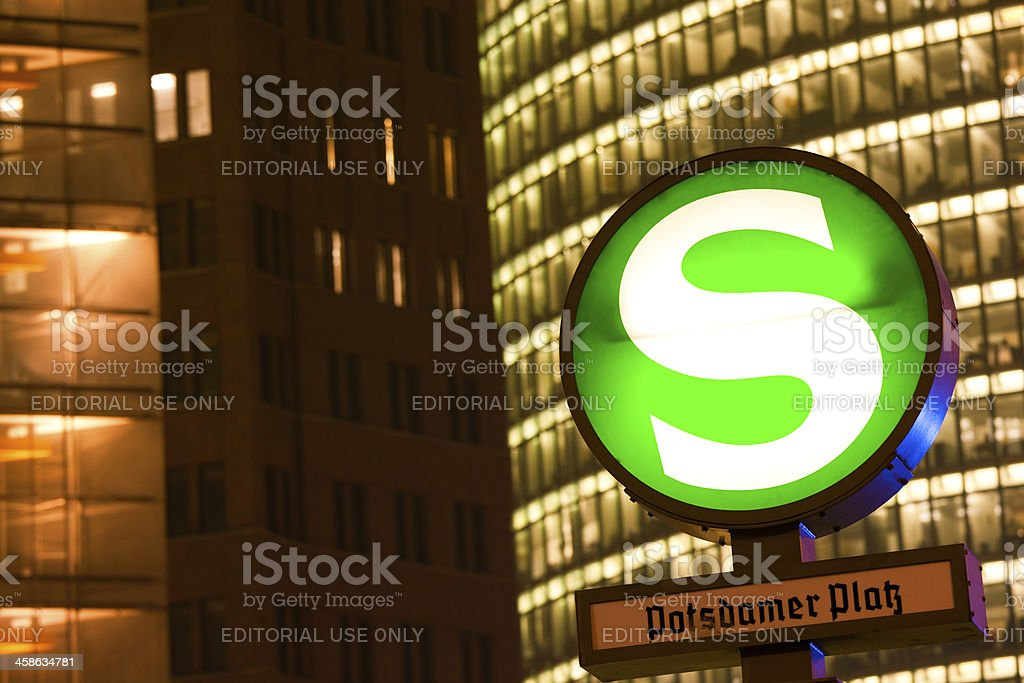 S Bahn Sign of Underground Train in Berlin stock photo
