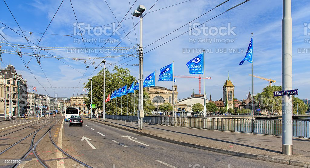 Bahnhofbrucke bridge in Zurich stock photo