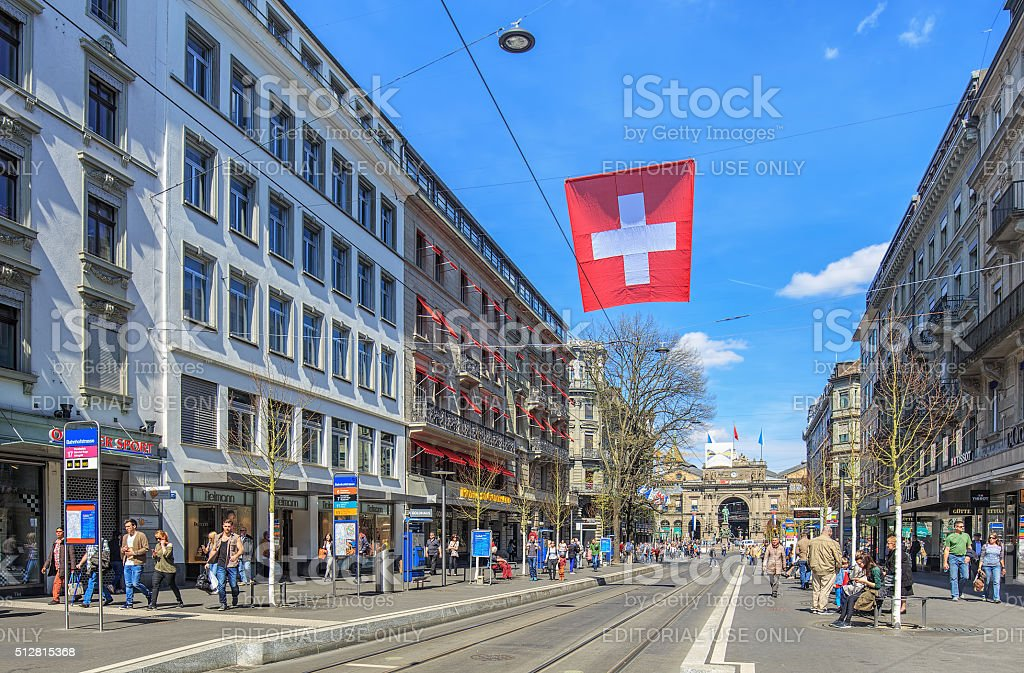 Bahnhofstrasse street in Zurich stock photo