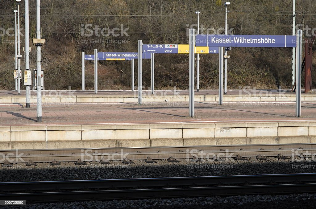Bahnsteig in Kassel-Wilhelmshöhe stock photo