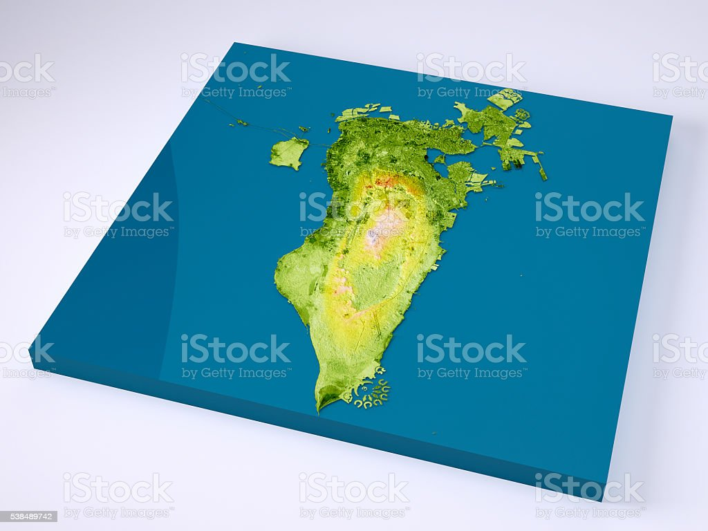 Bahrain 3D Model Topographic Map Color stock photo