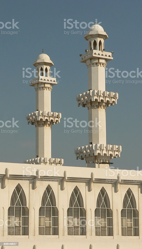 Bahrain Arab Muslim Mosque with twin towers calling to believers stock photo