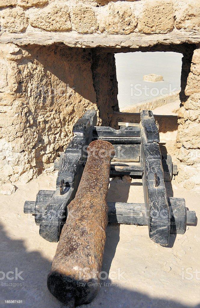 Bahrain: bronze cannon at Arad Fort stock photo