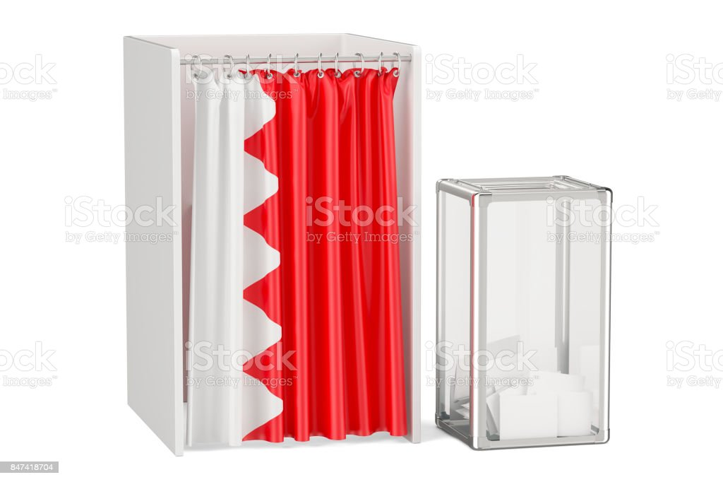 Bahrain election concept, ballot box and voting booths with flag, 3D rendering isolated on white background stock photo