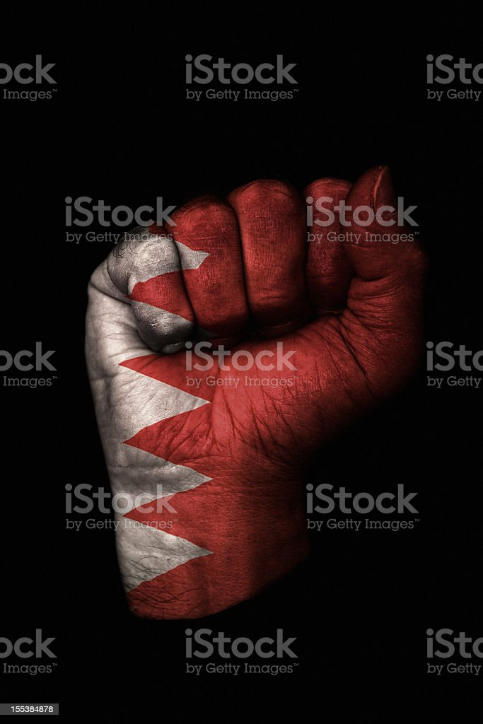Bahrain Fist Flag stock photo