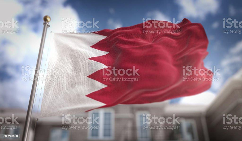 Bahrain Flag 3D Rendering on Blue Sky Building Background stock photo