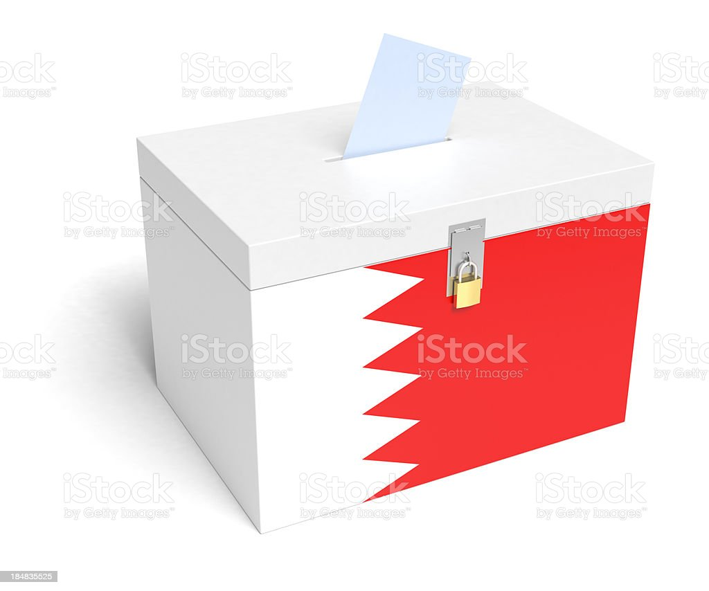 Bahrain Flag Ballot Box stock photo