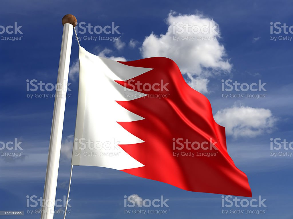 Bahrain flag (with clipping path) stock photo