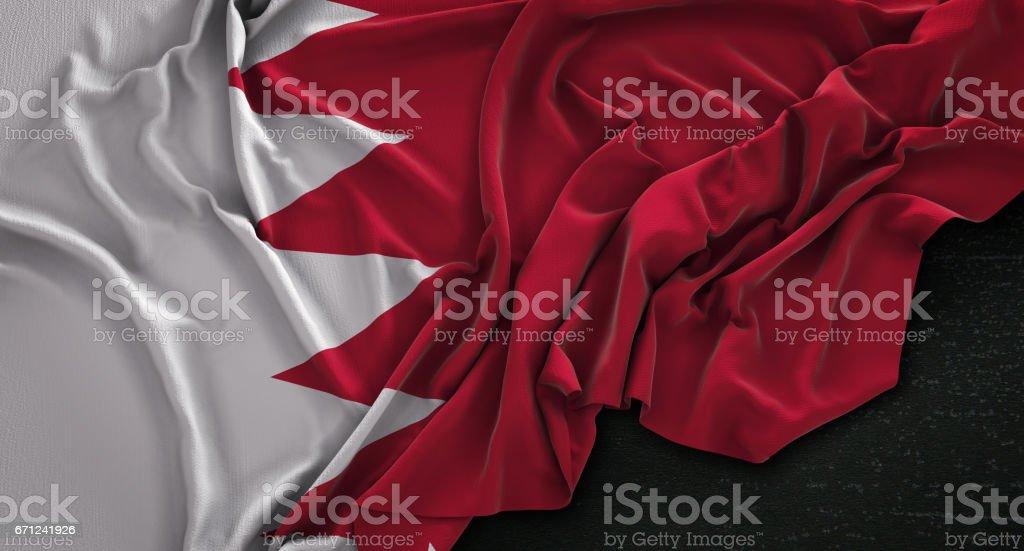 Bahrain Flag Wrinkled On Dark Background 3D Render stock photo