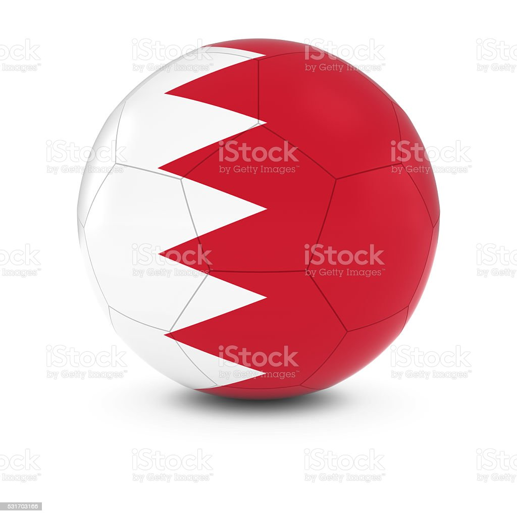 Bahrain Football - Bahraini Flag on Soccer Ball stock photo
