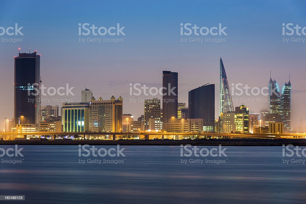 Bahrain Manama by Night stock photo