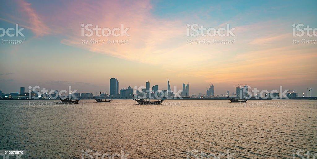 Bahrain Manama City by Night stock photo