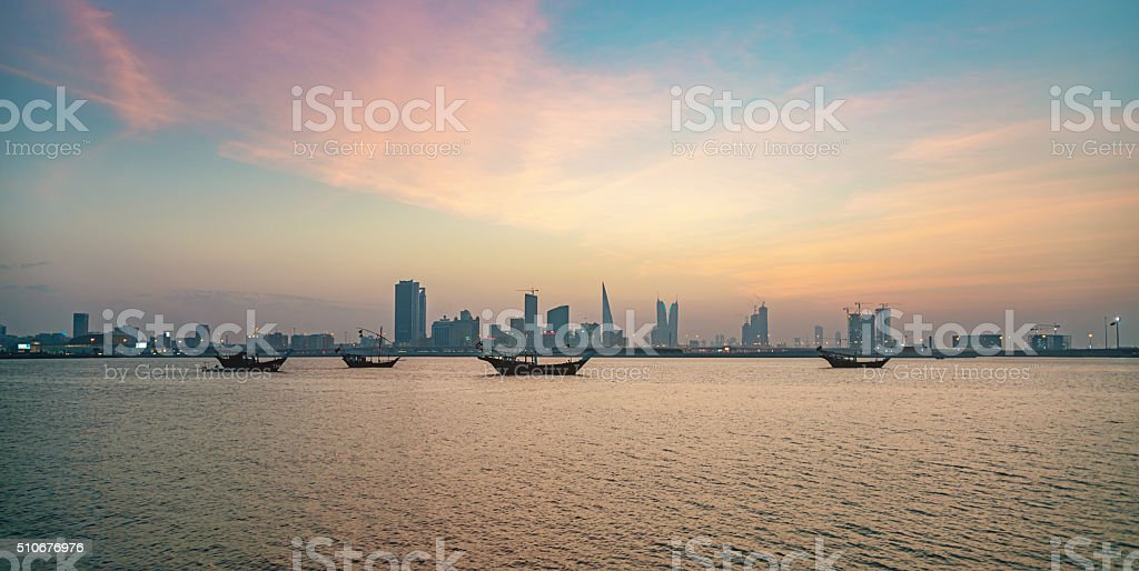 Bahrain Manama City by Night stock photo