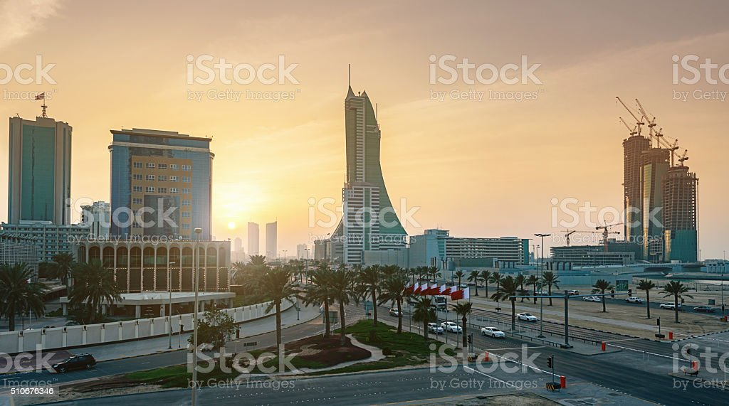 Bahrain Manama City Sunset stock photo
