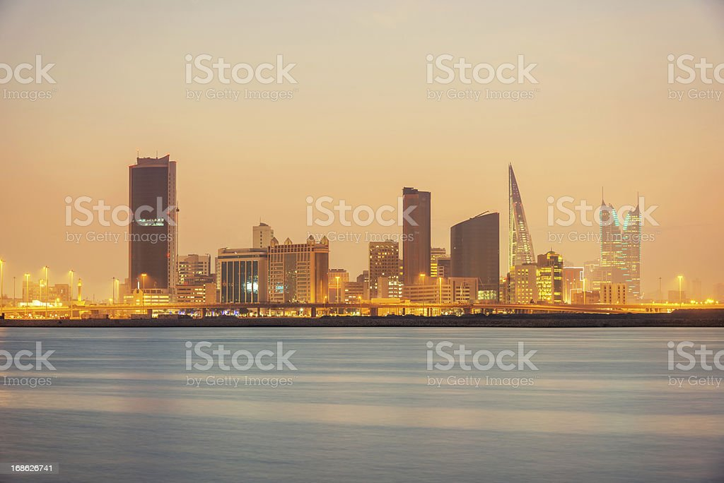 Bahrain Manama Skyline at Night stock photo