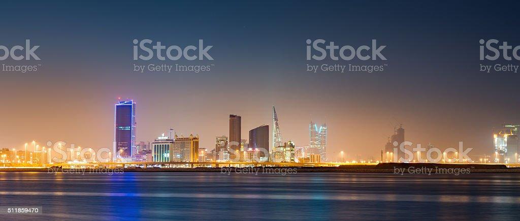 Bahrain Manama Skyline Panorama at Night stock photo